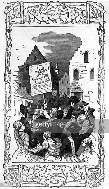 An angry mob protest against the Stamp Act by carrying a banner reading 'England's Folly America's Ruin' through the streets of New York The Stamp...