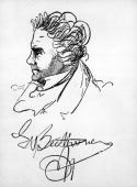 An autographed portrait of the German composer Ludwig van Beethoven