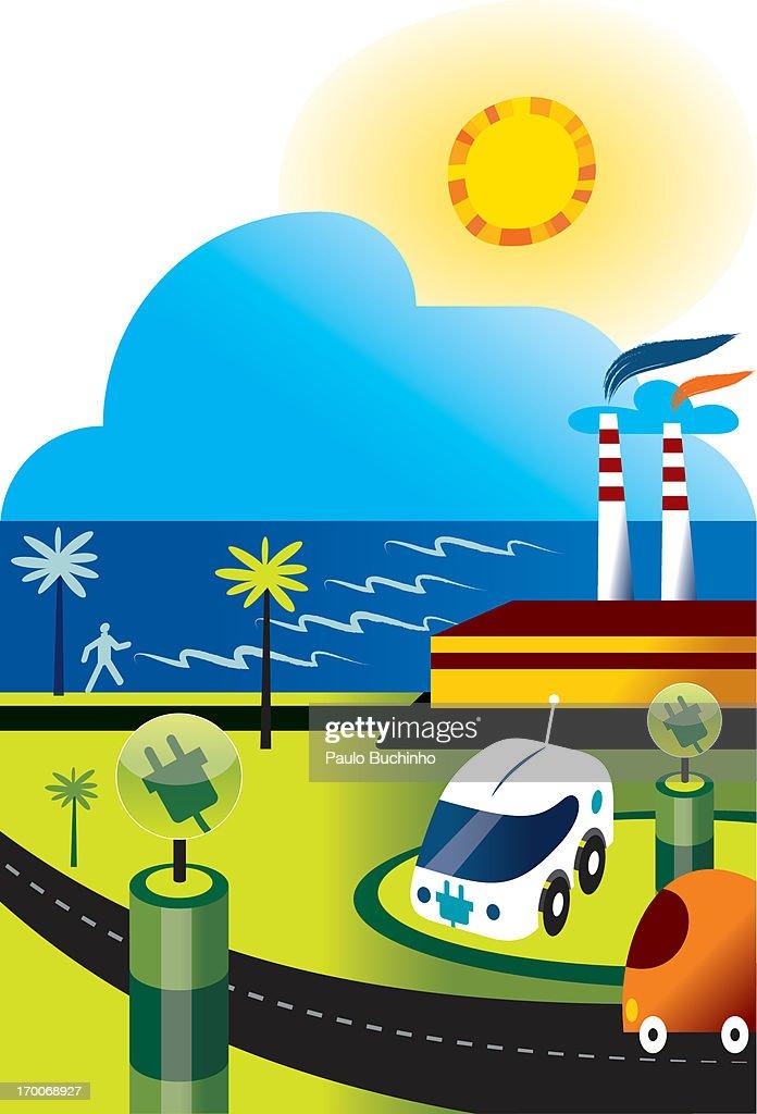 An electric car near smoke stacks : Stock Illustration