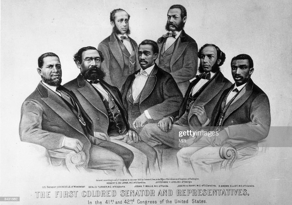 Senator Hiram Revels of Mississippi with some of the first black members of congress Benjamin Turner Robert De Large Josiah Walls Jefferson Long...