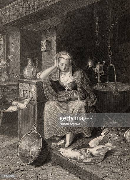 An engraving depicting the plight of Cinderella one of the many fairy tales collected by the philologists Jakob Ludwig and his brother Wilhelm Karl...