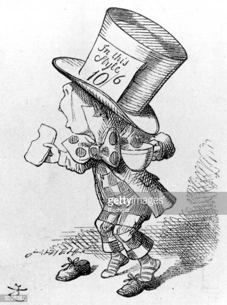 An illustration by Sir John Tenniel from the first edition of Lewis Carroll's 'Alice in Wonderland' showing 'The Mad Hatter' giving evidence at the...