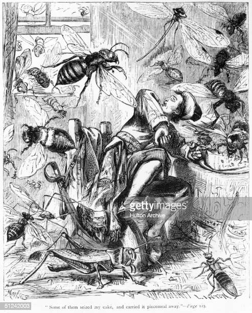 1726 An illustration depicting a scene from 'Gulliver's Travels' during his visit to Brobdingnag Gulliver defends himself against a horde of wasps