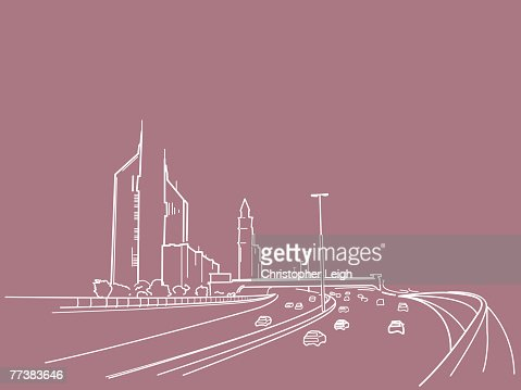 An illustration of a freeway : Vector Art
