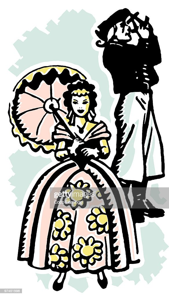 An illustration of a woman dressed in Victorian attire : Stock Illustration