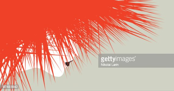 An illustration of a woman with wild red spiked hair with her face only slightly visible behind it : Stock Illustration
