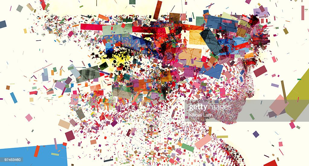 An illustration of a womans head made up of a collection of colorful fragments : Stock Illustration