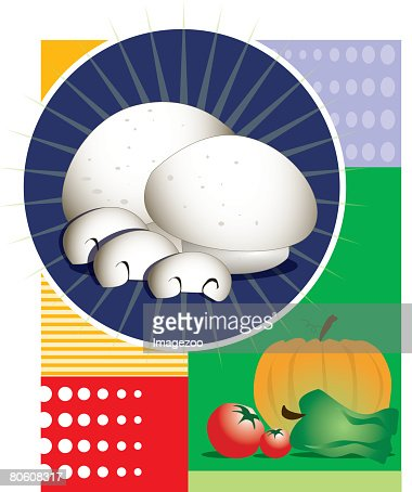 An image of various different vegetables : Vector Art