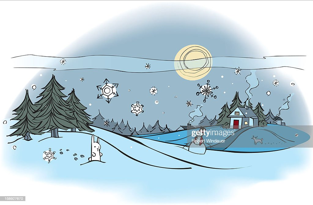 An outdoor winter scene : Stock Illustration