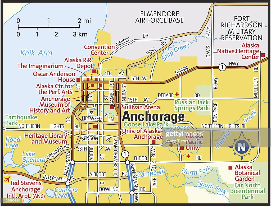 Color art anchorage - Anchorage Alaska Area Map Vector Art