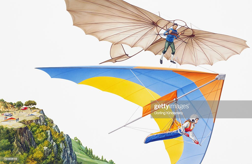 Ancient and modern hang gliding, low angle view : Stock Illustration