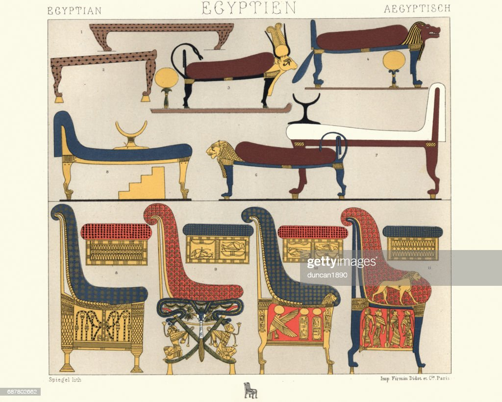 Ancient Egyptian Furniture Beds, Divans, And Thrones : Stock Illustration