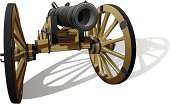 'Vector detailed image of typical field gun of times of American Civil War, isolated on white background. File contains gradients. No blends and strokes.'