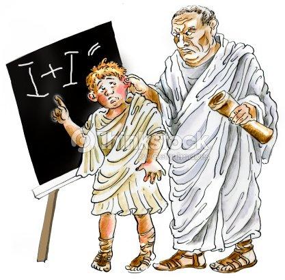 Ancient Roman Teacher Punishing Negligent Schoolboy Stock ...