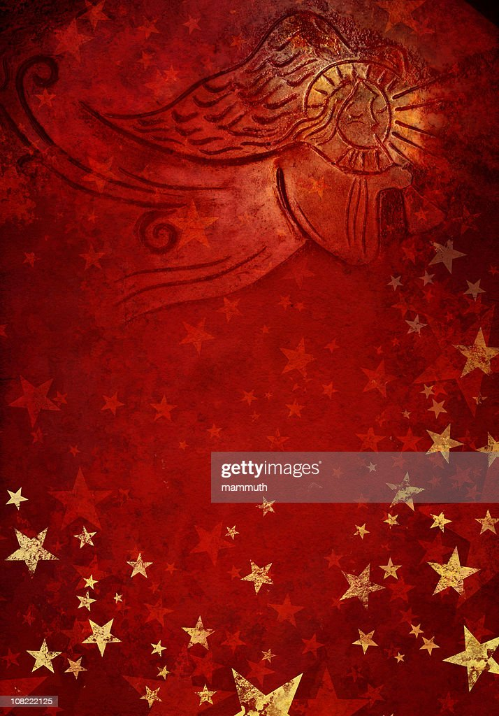 angel in red starry background : Stock Photo