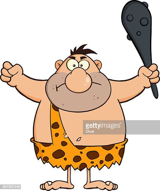 Angry Caveman Cartoon Character Holding A Club