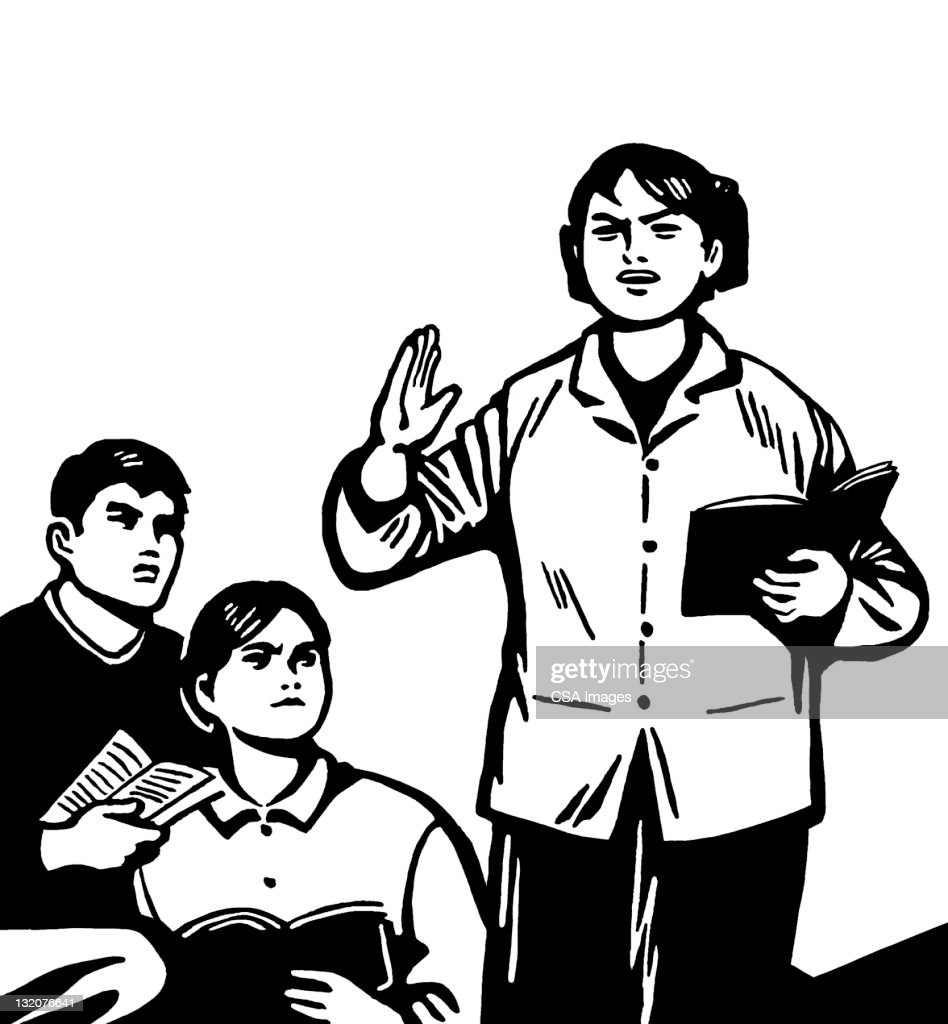 Angry Woman Teaching Students : Stock Illustration