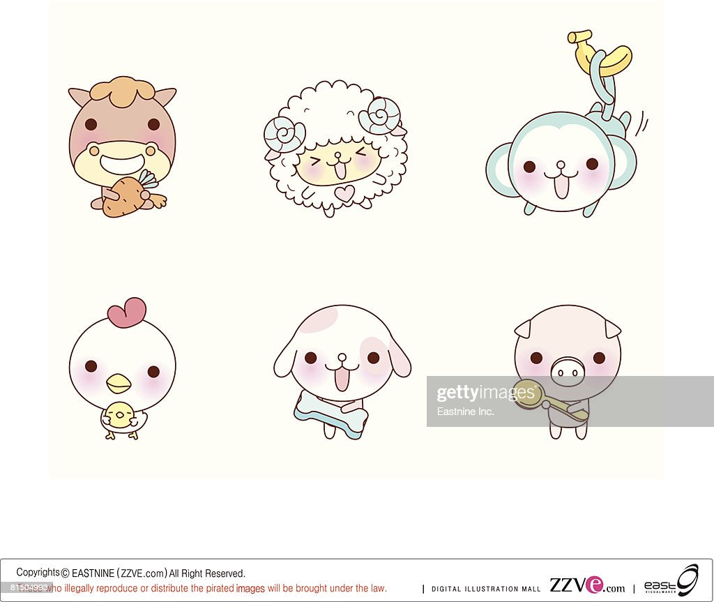 Animal figures displayed against white background : Vector Art