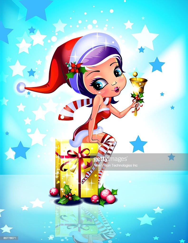 anime christmas elf with gift and bell stock illustration getty