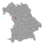 Ansbach city red highlighted in map of Bavaria Germany