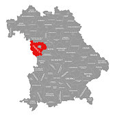 Ansbach county red highlighted in map of Bavaria Germany