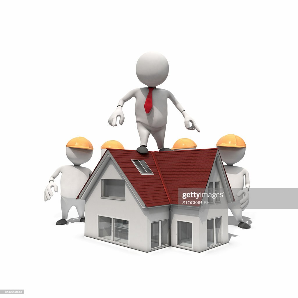 Anthropomorphic businessman standing on roof of a new house, CGI : Stock Illustration