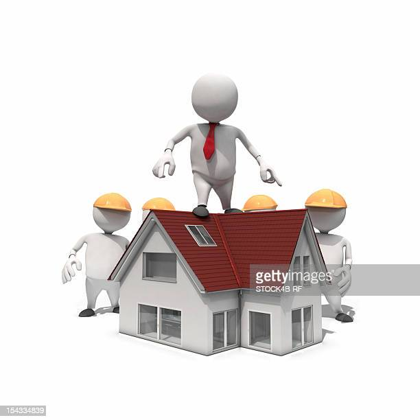 Anthropomorphic businessman standing on roof of a new house, CGI