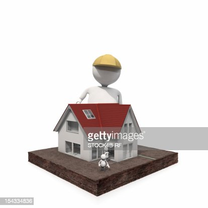 Anthropomorphic figure at a house with small figures, CGI : Stock Illustration