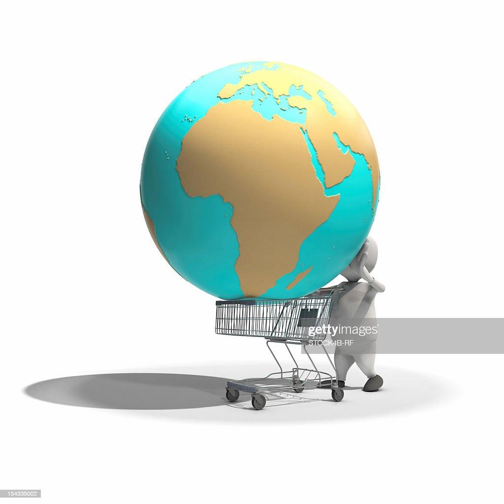 Anthropomorphic figure having globe in shopping cart, CGI : Stock Illustration