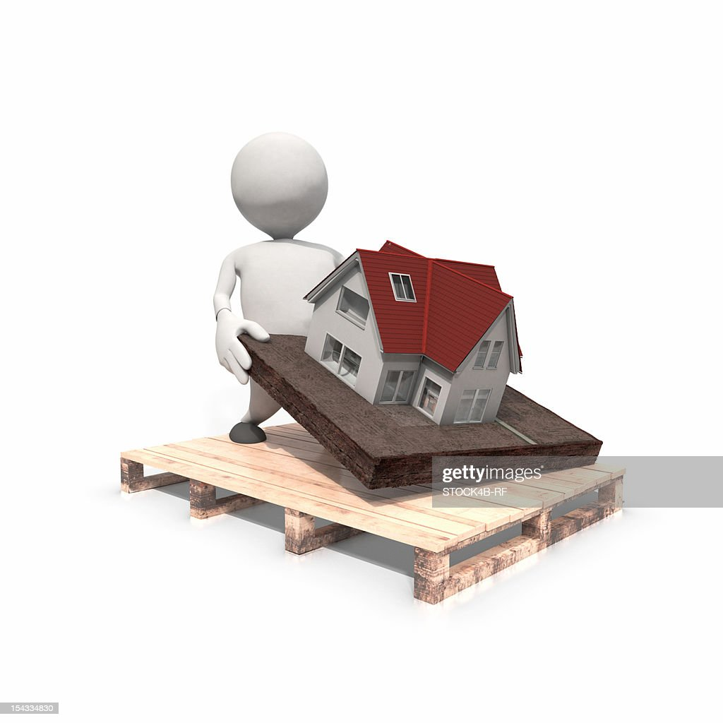 Anthropomorphic figure lifting house from pallet, CGI : Stock Illustration