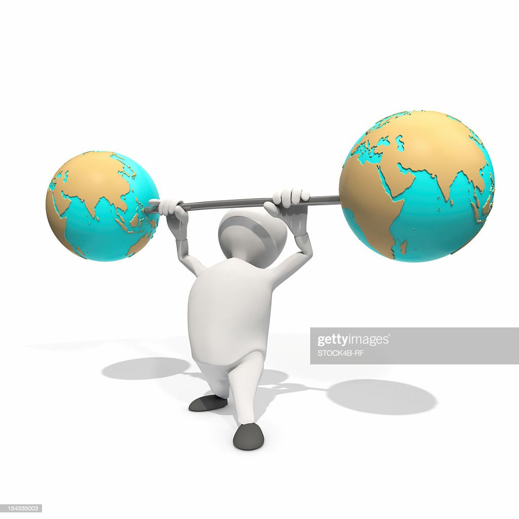 Anthropomorphic figure lifting weight with two globes, CGI : Stock Illustration