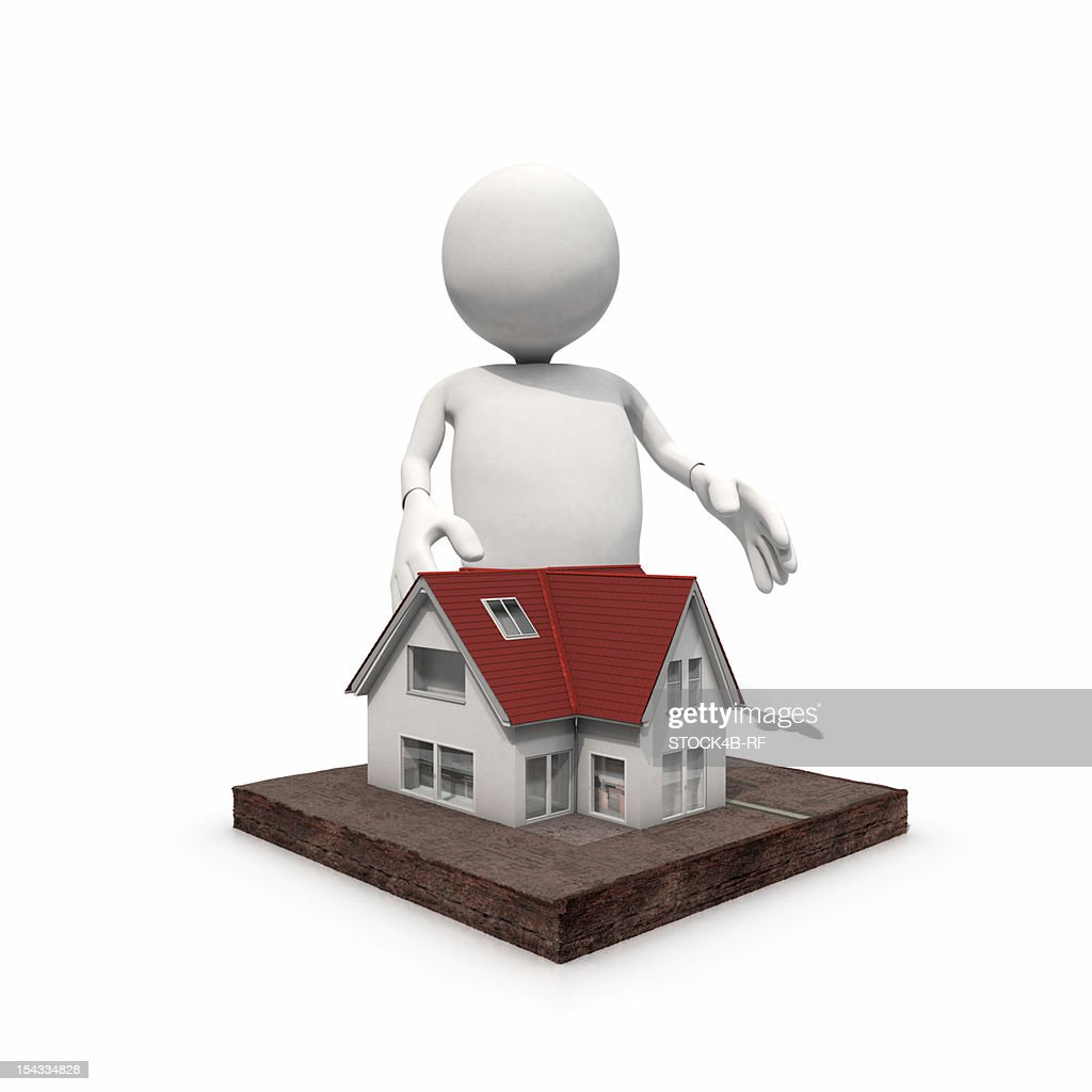 Anthropomorphic figure standing at home, CGI : Stock Illustration