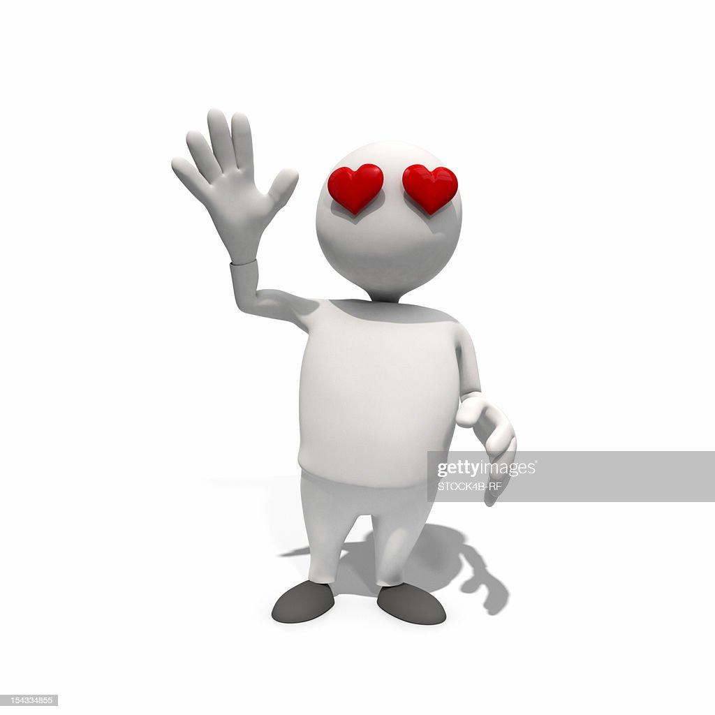 Anthropomorphic figure with heart-shaped eyes, CGI : Stock Illustration