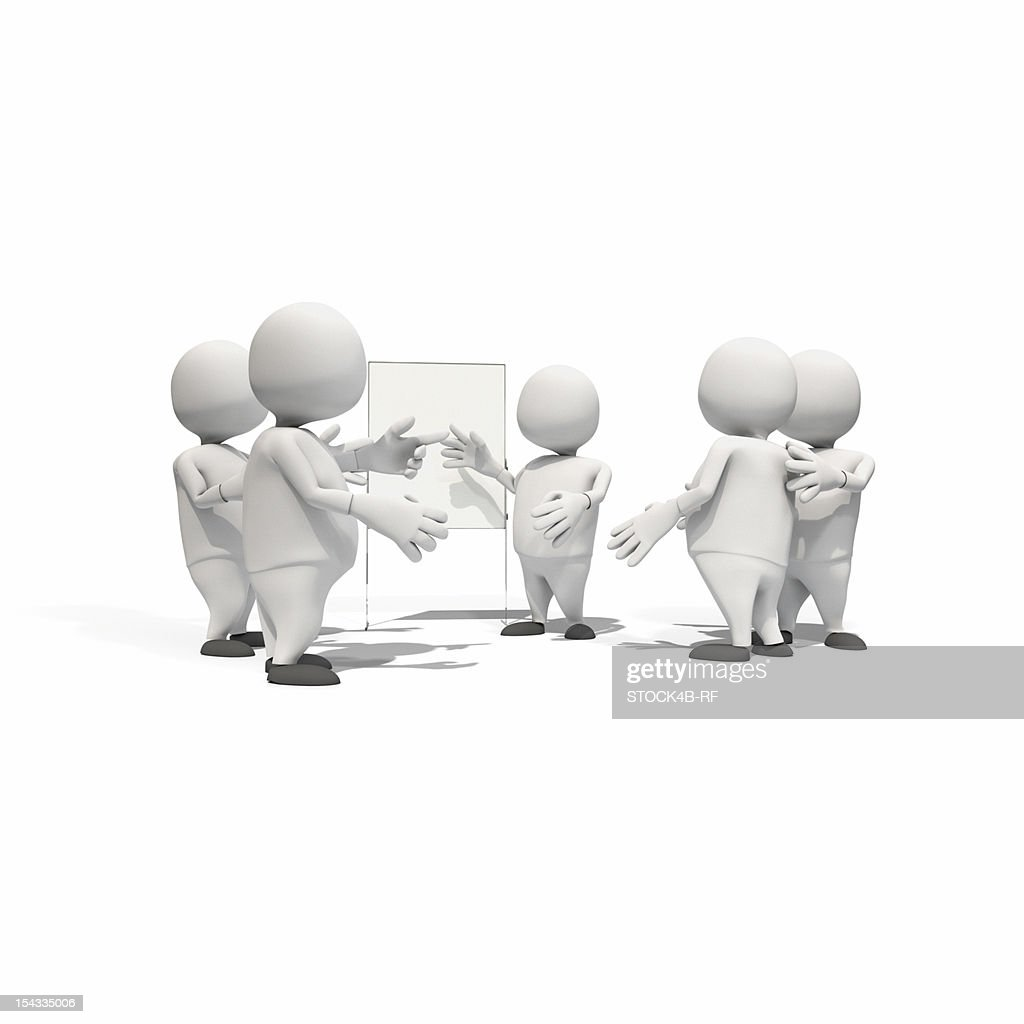 Anthropomorphic figures standing around flip chart, CGI : Stock Illustration