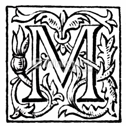 b5c7fb31bc Antique art engraving illustration: Ornate letter M from the Works of  Alfred Tennyson