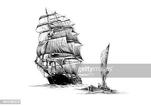 Segelschiff bleistiftzeichnung  Alte Schiff Sea Motiv Zieht Handarbeit Stock-Illustration | Thinkstock
