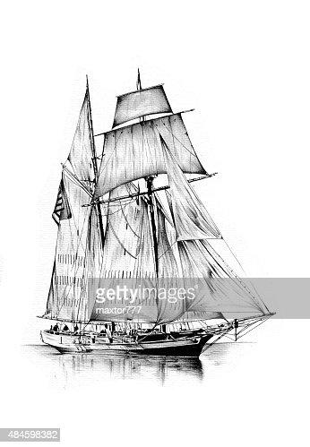 Segelschiff bleistiftzeichnung  Alte Schiff Sea Motiv Zieht Handarbeit Stock-Illustration   Thinkstock