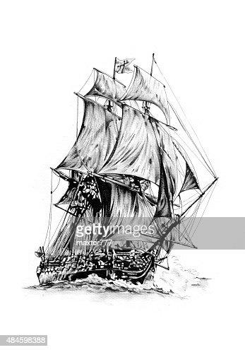 Segelschiff bleistiftzeichnung  Antique Boat Sea Motive Drawing Handmade Stock Illustration ...
