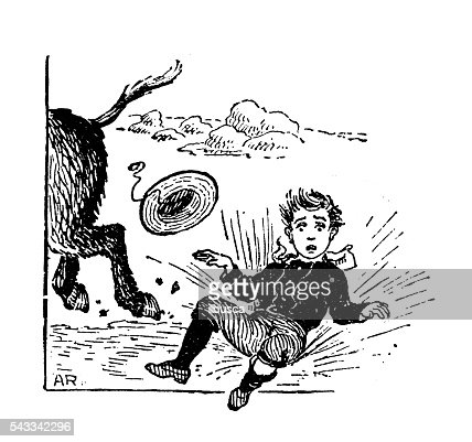 Antique children's book comic illustration: boy falling from riding donkey : Stock Illustration