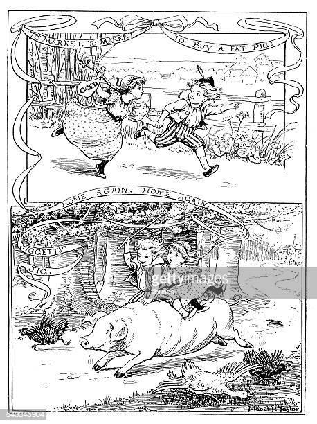 Enfants Livre Antique illustration comique : Achat pour les enfants et équitation de porc
