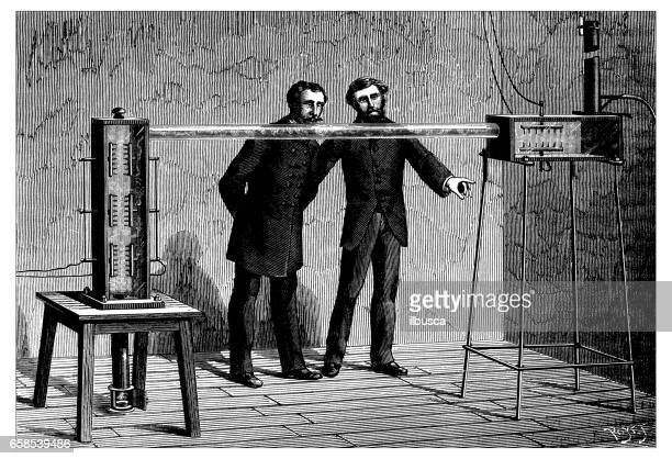 Antique engraving illustration: scientific experiment on electricity and condensation