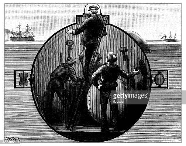 Antique engraving illustration: submarine section