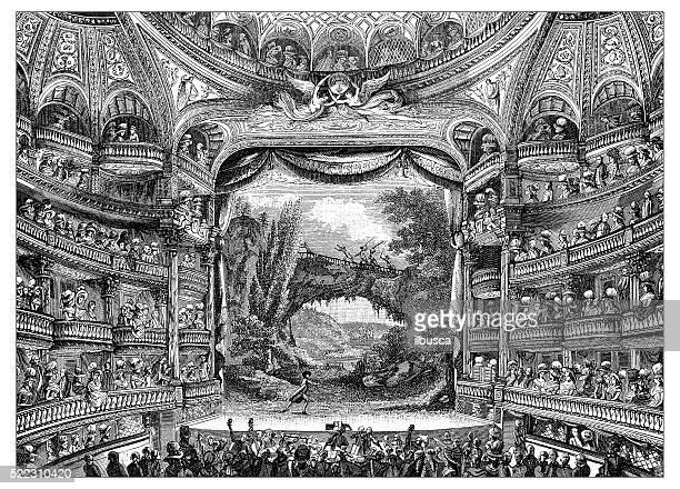 Ancienne illustration de XVIIIe siècle à l'intérieur de Paris Cinéma