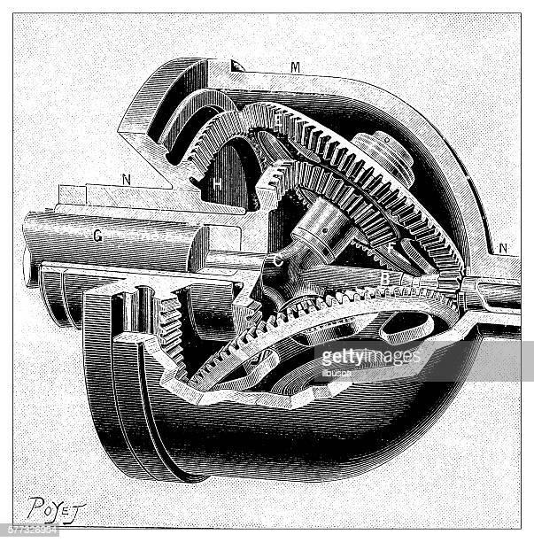 Antique illustration of adaptor transmission gearbox