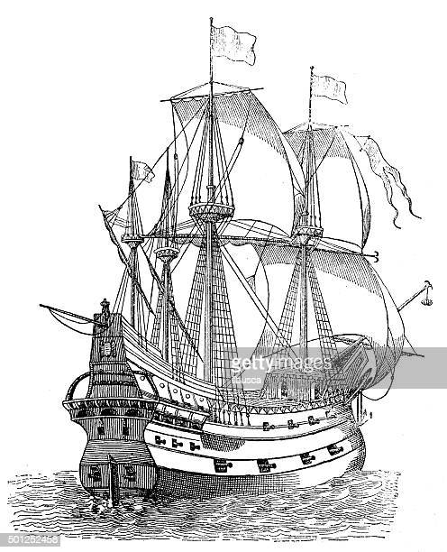 Antique illustration of ancient vessel or galleon