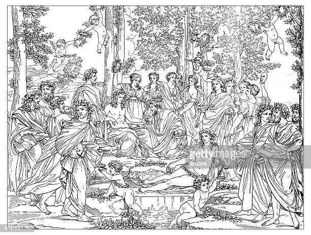 Antique illustration of Apollo and Muses on Mount Parnassus