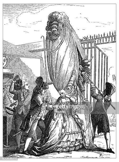 Antique illustration of cheating attempt, hiding stuff in the hairdo