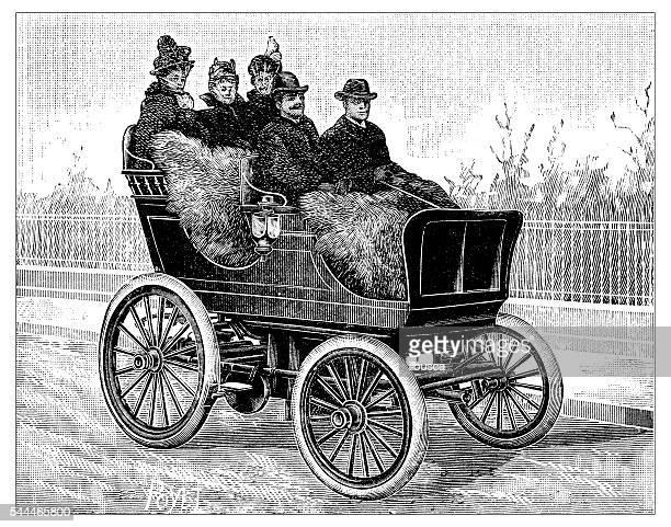 Ancienne illustration de l'air comprimé voiture