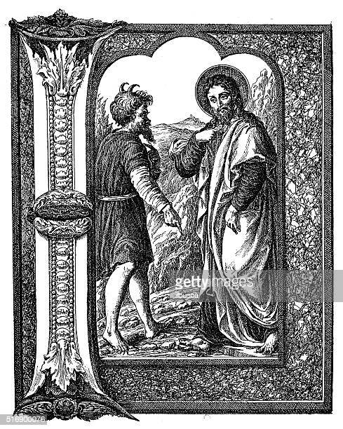 Antique illustration of decorated letter I with temptation of Christ