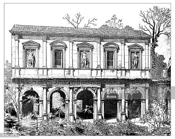 Antique illustration of facade of lodge and Odeo Cornaro (Paduaa)